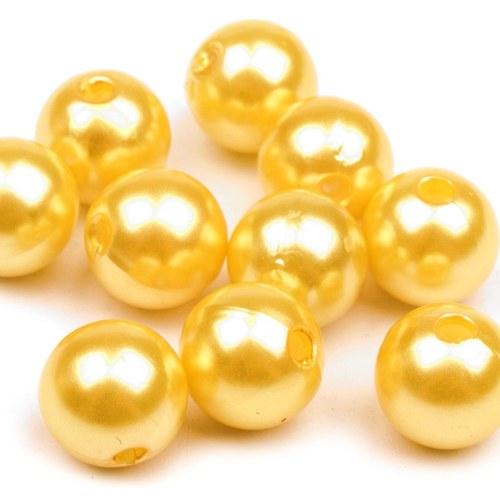 Plastové voskované perle žluté 10 mm - 20 ks