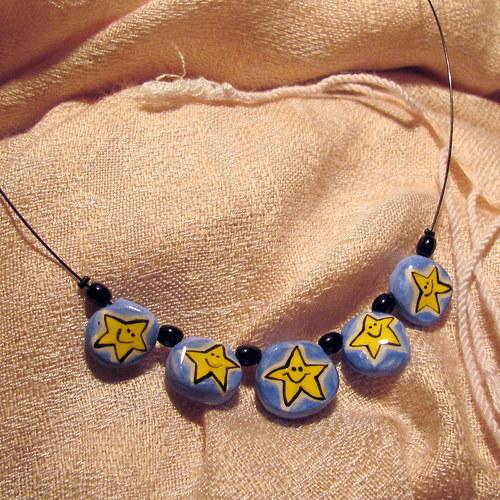 Keramický náhrdelník - hvězdičky