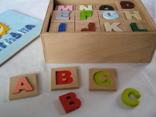 Drevené pexeso s vkladacími písmenami v krabičke
