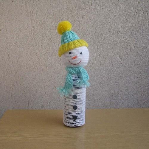 Ozdoba na láhev-sněhulák