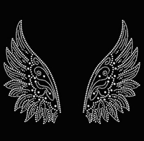 Křídla - Štrasový nažehlovací motiv, kamínky