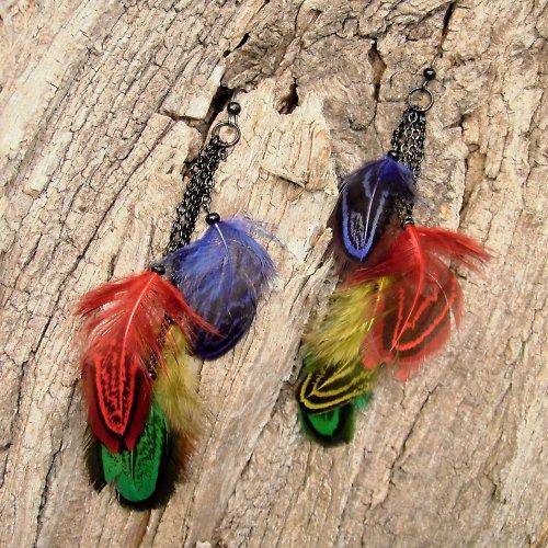 barevné peříčkové náušnice II