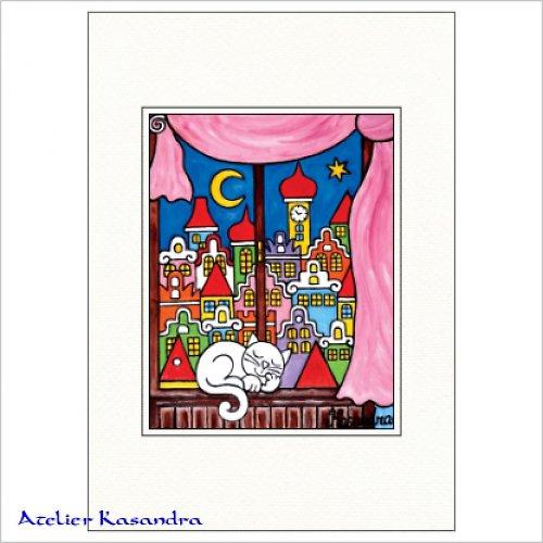 Pasparta A4 - Kocour na okně, růžový závěs