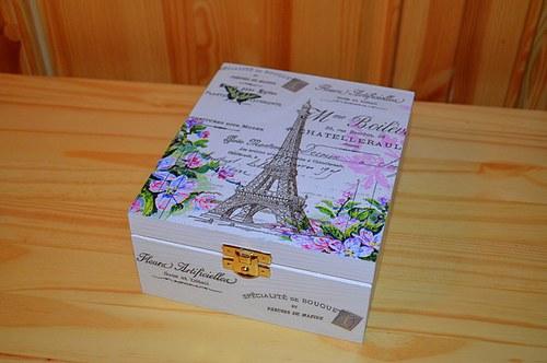 Krabička na čaj, šperkovnice - květinová Paříž