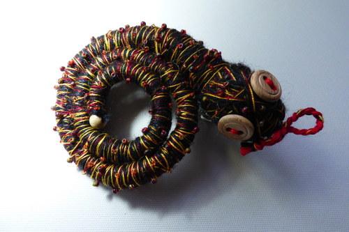 Spona na vlasy Had černý