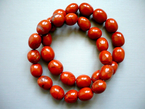 Vrtané valounky - jaspis červený, 2 ks