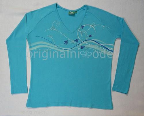 SLEVA: Malované tričko dámské - kvítka - tyrkysové