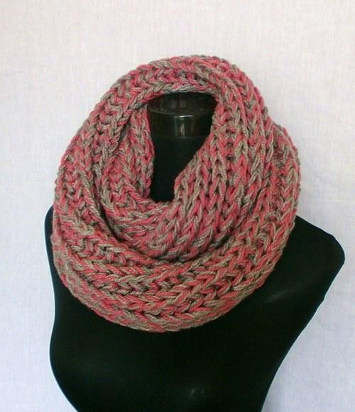 Pletený nákrčník růžovo-šedý