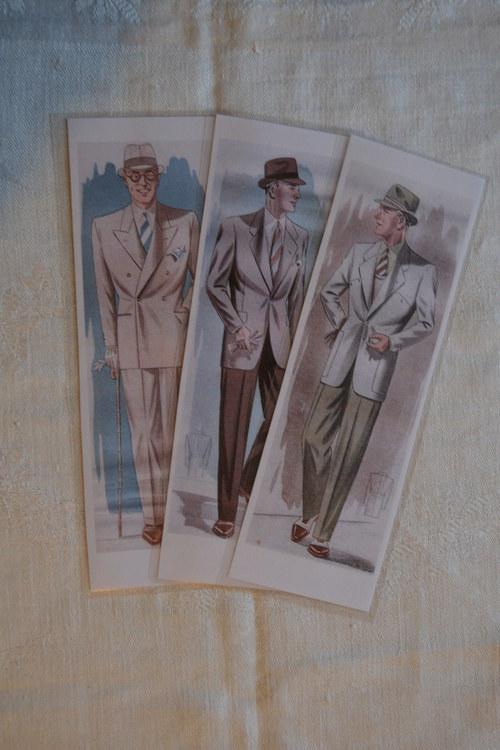 Záložky do knih - Tři gentlemani - 3 kusy