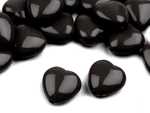 Plastové korálky 13x13mm srdce / černé (10 ks)