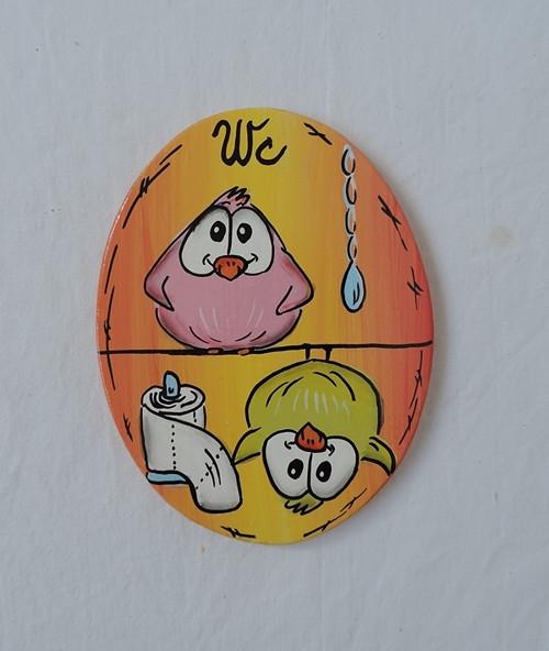 Cedulka na dveře-pipi ovál oranžová-wc