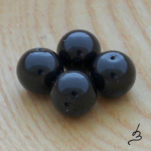 Voskové perle černé 12 mm - 6 ks