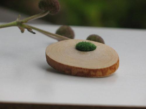 Brož - Vlněnka ... zelená - pura natura