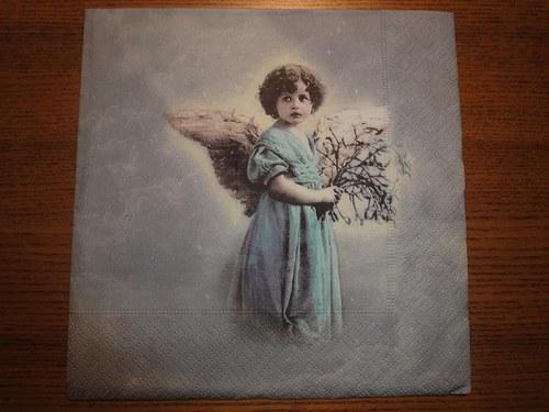 Ubrousek na decoupage - andělíček v modrém