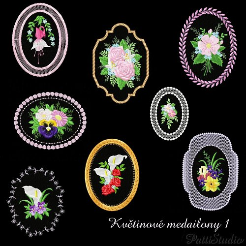Vyšívací vzory - Květinové medailony 1