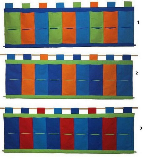 Čtyřbarevný kapsář za postel 160 x 50cm BT