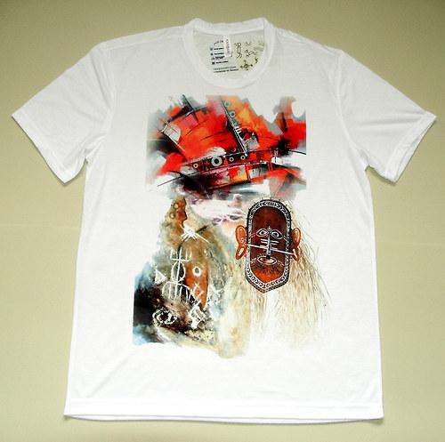 tričko s domorodými motivy. sublimační tisk.