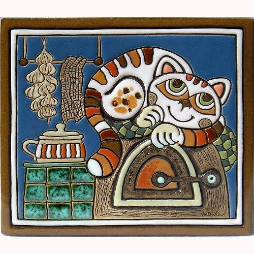 Keramický obrázek - Kočka na peci K-107-N1