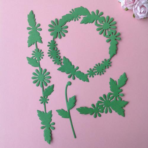 Ornament  rostlinný 4 ks, barva dle přání (FLO108)