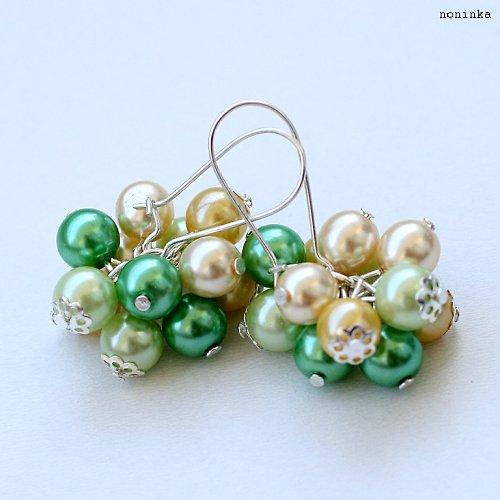 Citróny a limetky - náušnice a náhrdelník - VÝPROD