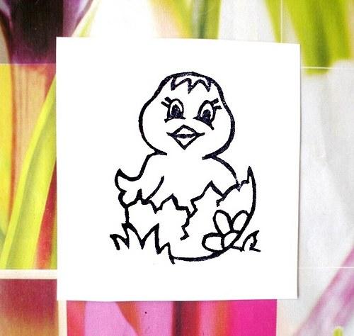 Kuřátko ve skořápce... Omyvatelné razítko.