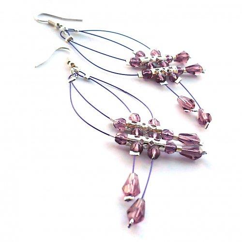 Fialové dešťové náhrdelníčky do oušek II.menší