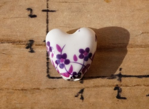 porcelánové srdíčko 1 ks -  B6770