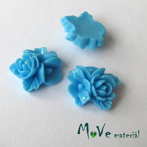 Kabošon květy lesklý A8 - resin - 2ks, tyrkysový