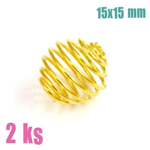 Zlatá klec na korálek 15x15 mm, 2 ks