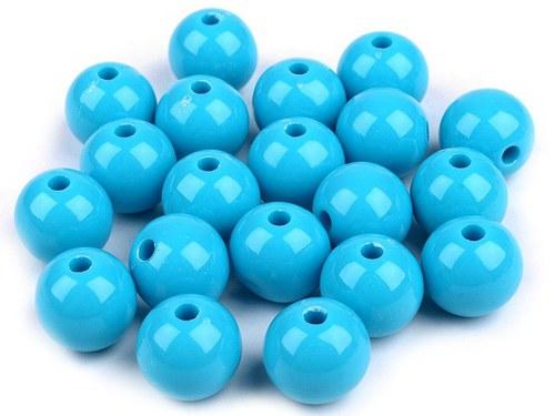 Plastové korálky 12mm kulička / modrá (10ks)