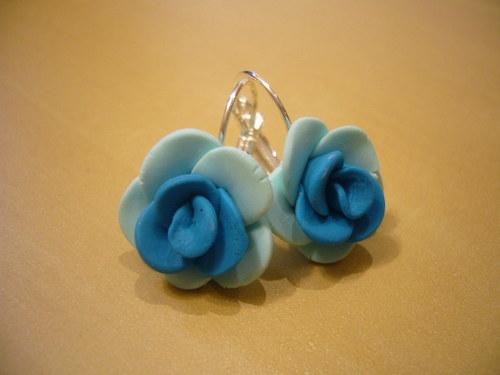 Náušnice - tyrkysové růžičky uzavíratelné
