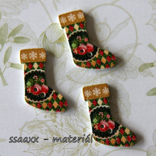 Dřevěný knoflík ~ 30 mm ~ vánoční punčocha XX