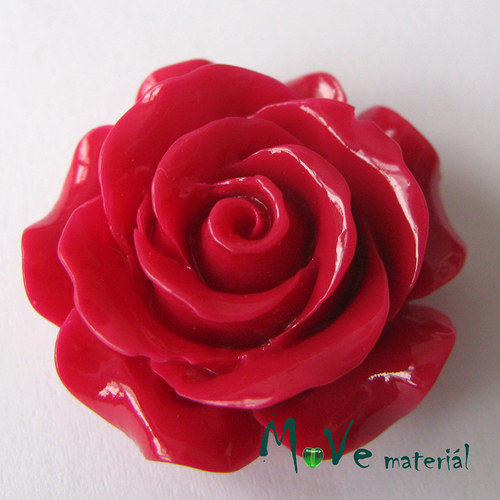 Kabošon květ lesklý resin/1ks/červený/ II. jakost