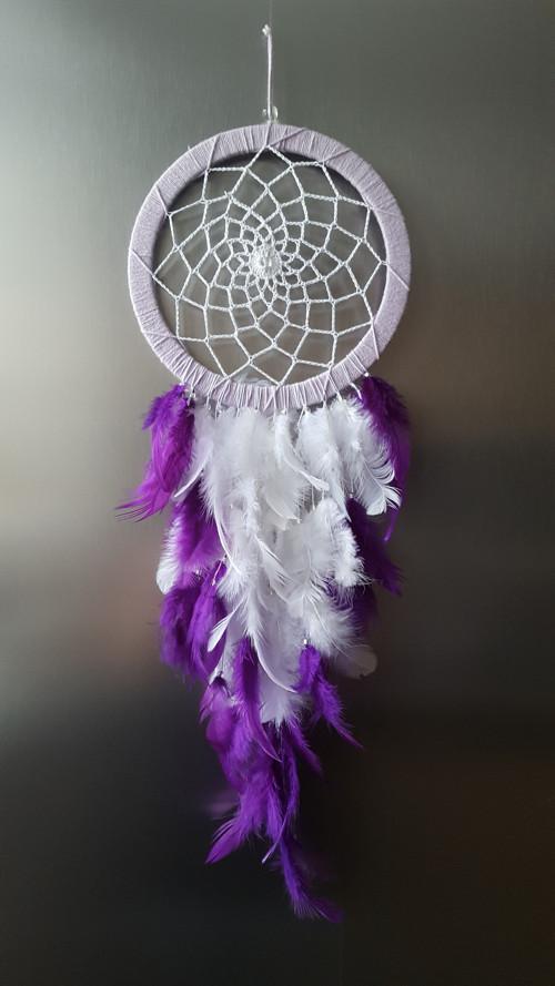 Lapač snů - fialová průměr 18 cm s křištálem