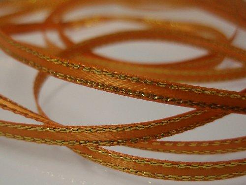 19532-B01 Stuha satén ORANŽ zlatý lem 3mm/3metry