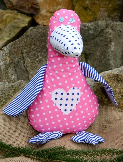 Cáklá kačena růžová - modrá  křidýlka s proužky