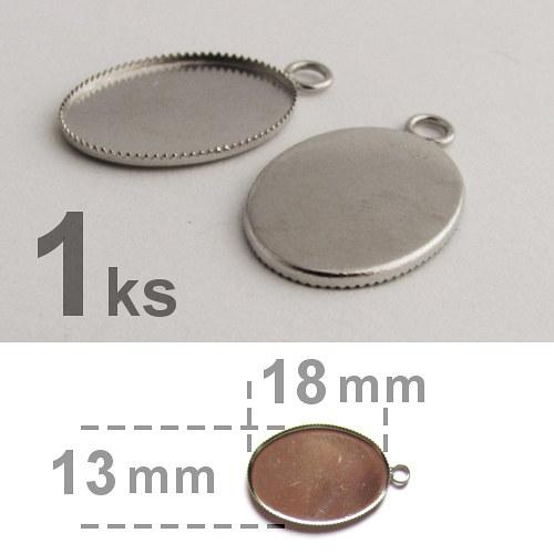 Lůžko - oválné (18x13mm) - platina - 1 ks