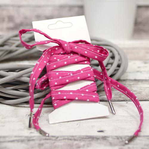 Tkaničky do bot - růžové s puntíčky
