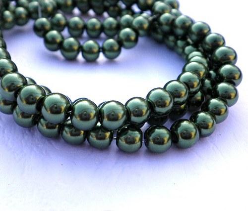 Perličky voskovky tmavě zelené, 6mm - 30ks