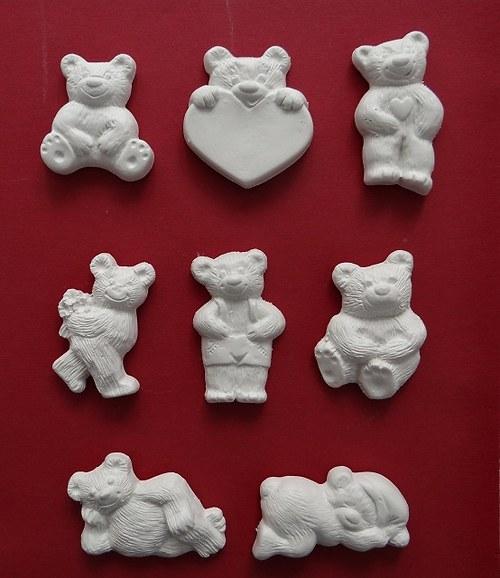 Sádrová dekorace méďa, medvěd, medvídek, srdce