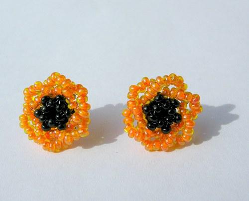 Puzetové náušnice oranžové