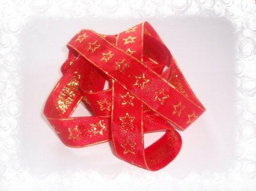 19207 Stuha taft 25mm červená hvězdy, á 1m