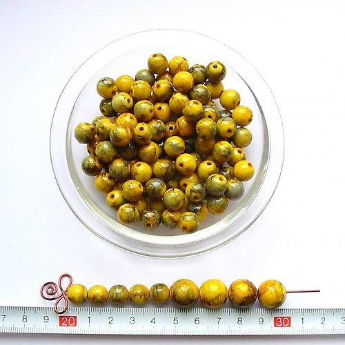 Mramorová kulička 10, žluto-zelená, 10 ks, sleva
