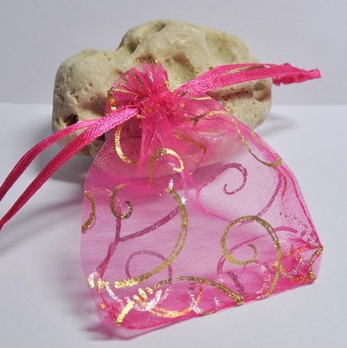 Stahovací pytlík organza / tm. růžový ornament