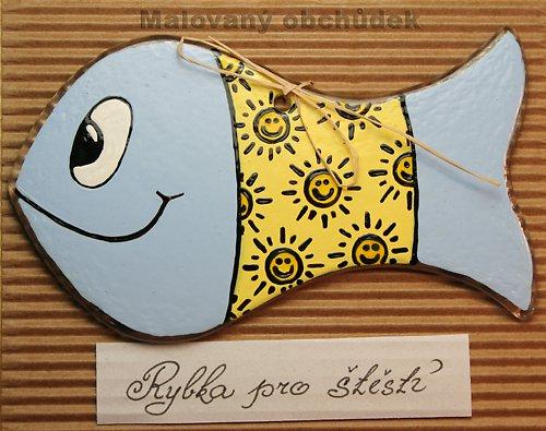 Malovaná rybka pro štěstí-sluníčková