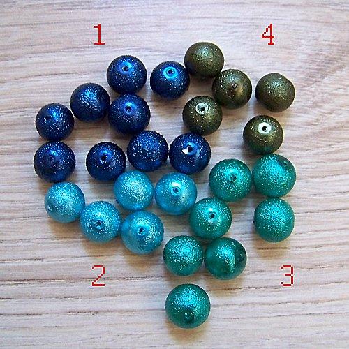 vroubkované voskové perly/ zelená č.3/ 12mm/ 5ks