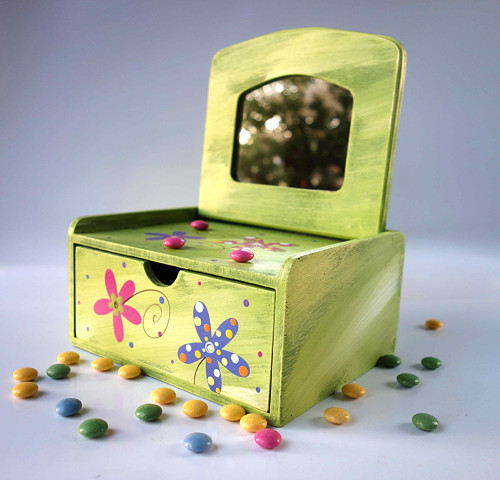 Šperkovnice - zelená s kytkami