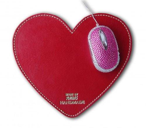Valentýnská podložka pod myš z pravé kůže