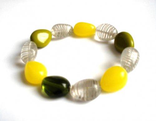 Náramek kombinace žlutá,zelená,šedá