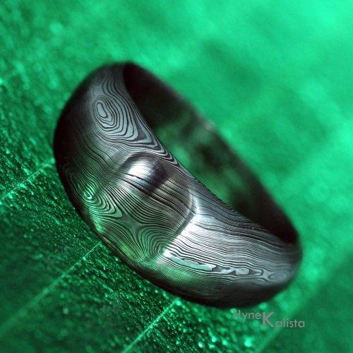 Výrazný kovaný prsten ocel damasteeel - Mojmír